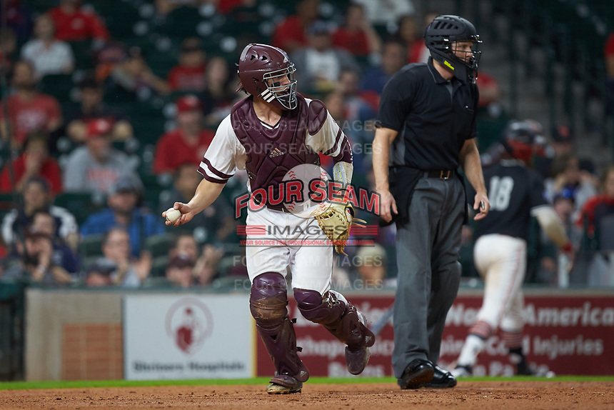 Mississippi State Bulldogs catcher Marshall Gilbert (34) reacts after the final out of an inning during the game against the Houston Cougars in game six of the 2018 Shriners Hospitals for Children College Classic at Minute Maid Park on March 3, 2018 in Houston, Texas. The Bulldogs defeated the Cougars 3-2 in 12 innings. (Brian Westerholt/Four Seam Images)