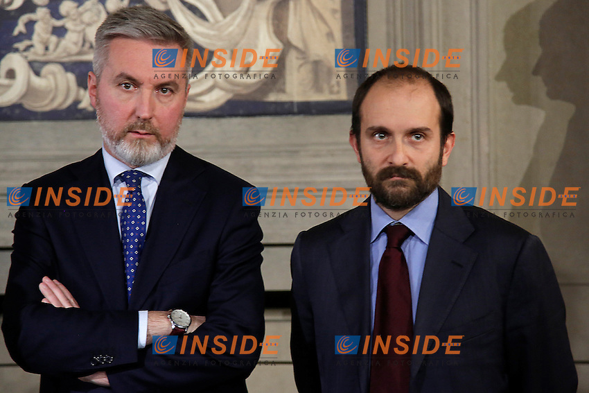 Lorenzo Guerini e Matteo Orfini<br /> Roma 10-12-2016. Quirinale. Consultazioni <br /> Rome December 10th 2016. Quirinale. Consultation with the President of the Republic for a new Government<br /> Foto Samantha Zucchi Insidefoto