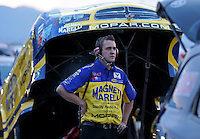 Apr. 5, 2013; Las Vegas, NV, USA: NHRA crew member for funny car driver Matt Hagan during qualifying for the Summitracing.com Nationals at the Strip at Las Vegas Motor Speedway. Mandatory Credit: Mark J. Rebilas-
