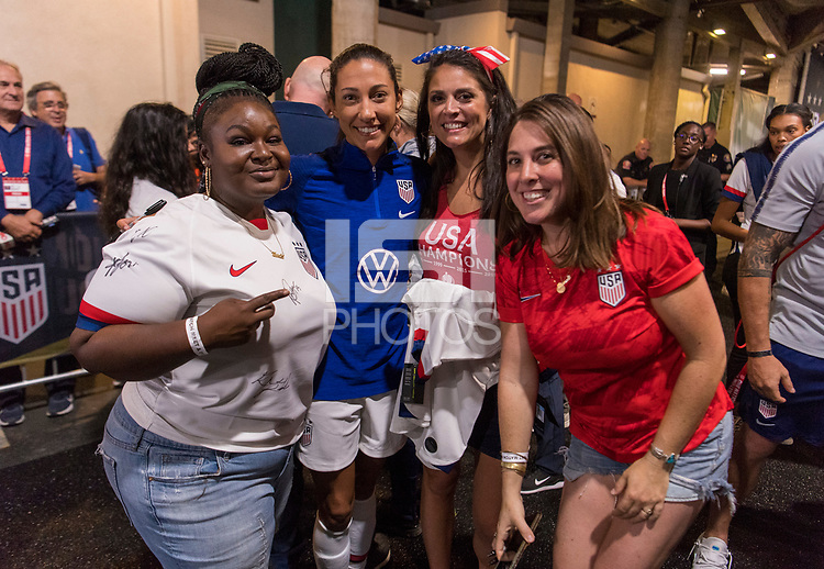 PASADENA, CA - AUGUST 4: Christen Press #23 and Cecily Strong pose during a game between Ireland and USWNT at Rose Bowl on August 3, 2019 in Pasadena, California.