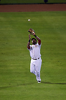 Peoria Javelinas outfielder Phillip Ervin (9) catches a fly ball during an Arizona Fall League game against the Scottsdale Scorpions on October 24, 2015 at Peoria Stadium in Peoria, Arizona.  Peoria defeated Scottsdale 3-1.  (Mike Janes/Four Seam Images)