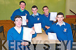 St Michael's College, Listowel Junior Cert students Cathal Kennelly and Colin Browne in front & Sean Cremin , Danny Browne & Cathal Keane receiving their results on Wednesday morning last.