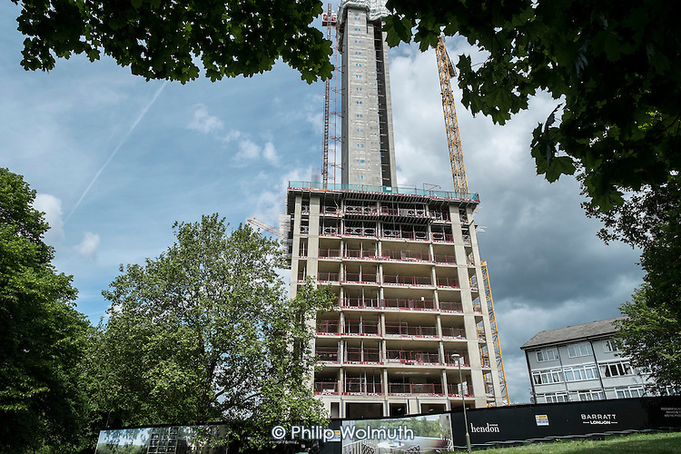 Construction of a new tower block on West Hendon Estate, where tenants and leaseholders in 680 properties are being moved out to make way for a 2000 home development by Barratts and Barnet Council, only 200 of which will be social housing.  Leaseholders have been forced to sell at rock-bottom prices and only secure tenants are being rehoused on the estate.