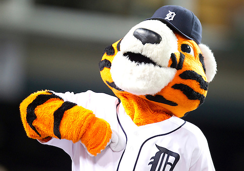 August 04, 2010: Tigers mascot Paws during game action between the Chicago White Sox and the Detroit Tigers at Comerica Park in Detroit, Michigan.  The White Sox defeated the Tigers 4-1.
