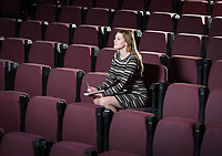 Occidental College student Sophie Pester '18 poses on Feb. 8, 2017 in Keck Theater. Sophie has a play that will be performed at the next New Play Festival. (Photo by Marc Campos, Occidental College Photographer)