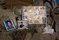27 Ago 2010 Copiapo Chile. Relatives of the 33 miners that are trapped inside the SAn Jose min since 5 ago 2010. Relatives, friends and rescue team around the mine where 33 miners are trapped in a collapsed tunnel 700 meters under the ground in North of Chile
