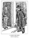 "A Nation's Good Wishes. ""Who shall I say called, Sir?"" ""Just say a very grateful admirer."" (John Bull calls at No.10 Downing Street to pay his compliments to the leadership)"