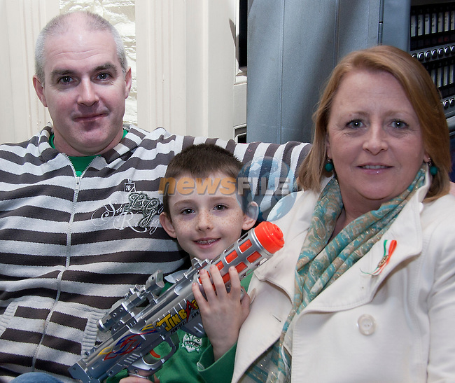 Jackie, Darragh and Finiah McGuiness in Barocco on St. Patrick's Day..Picture: Shane Maguire / www.newsfile.ie