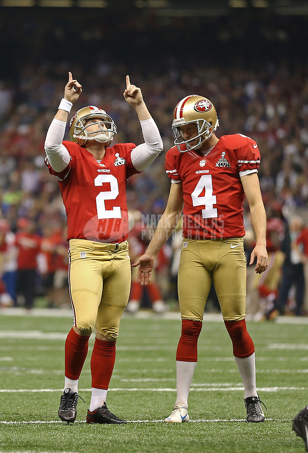 Feb 3, 2013; New Orleans, LA, USA; San Francisco 49ers kicker David Akers (2) celebrates a field goal with punter Andy Lee (4) against the Baltimore Ravens in Super Bowl XLVII at the Mercedes-Benz Superdome. Mandatory Credit: Mark J. Rebilas-