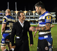 BT Sport pundit Austin Healey has a chat with Matt Banahan of Bath Rugby after the match. Aviva Premiership match, between Bath Rugby and London Irish on April 24, 2015 at the Recreation Ground in Bath, England. Photo by: Patrick Khachfe / Onside Images