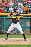 Gary Brown (15) of the Salt Lake Bees at bat against the Las Vegas 51s in Pacific Coast League action at Smith's Ballpark on June 25, 2015 in Salt Lake City, Utah.  Las Vegas defeated Salt Lake 20-8.  (Stephen Smith/Four Seam Images)