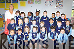 Teacher Sheila Goulding with her junior infants class of 2008 during their first day in St Oliver's National school on Monday.   Copyright Kerry's Eye 2008