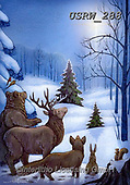 Randy, CHRISTMAS LANDSCAPES, WEIHNACHTEN WINTERLANDSCHAFTEN, NAVIDAD PAISAJES DE INVIERNO, paintings+++++CC-Animals-Star-Snowscene-randy-sm,USRW288,#xl#