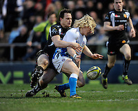 Tom Biggs of Bath Rugby (right) chases the ball ahead of Bryan Rennie of Exeter Chiefs to score his opening try during the LV= Cup match between Exeter Chiefs and Bath Rugby at Sandy Park Stadium on Sunday 5th February 2012 (Photo by Rob Munro)
