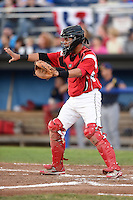 Batavia Muckdogs catcher Rodrigo Vigil (27) directs the play during a game against the State College Spikes on July 3, 2014 at Dwyer Stadium in Batavia, New York.  State College defeated Batavia 7-1.  (Mike Janes/Four Seam Images)