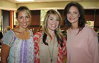 NWA Democrat-Gazette/CARIN SCHOPPMEYER Cheryl Sinacore (from left), Misti McGowan and April Collister enjoy Sprouting Hope.