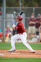 Boston College Eagles shortstop Jake Palomaki (11) hits a single during a game against the Minnesota Golden Gophers on February 23, 2018 at North Charlotte Regional Park in Port Charlotte, Florida.  Minnesota defeated Boston College 14-1.  (Mike Janes/Four Seam Images)
