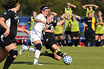 03 DEC 2011: Alyssa Mira (16) of GVSU and Brittany Godin (18) of Saint Rose battle for the ball during the Division II Women's Soccer Championship held at the Ashton Brosnaham Soccer Complex in Pensacola, FL.  Saint Rose defeated Grand Valley State 2-1 to win the national title.  Stephen Nowland/NCAA Photos