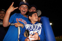 Batavia Muckdogs young fans wait for autographs after a game against the State College Spikes on June 24, 2016 at Dwyer Stadium in Batavia, New York.  State College defeated Batavia 10-3.  (Mike Janes/Four Seam Images)