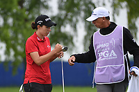 Carlota Ciganda (ESP) fist bumps her caddie after sinking her putt on 1 during round 4 of the KPMG Women's PGA Championship, Hazeltine National, Chaska, Minnesota, USA. 6/23/2019.<br /> Picture: Golffile | Ken Murray<br /> <br /> <br /> All photo usage must carry mandatory copyright credit (© Golffile | Ken Murray)