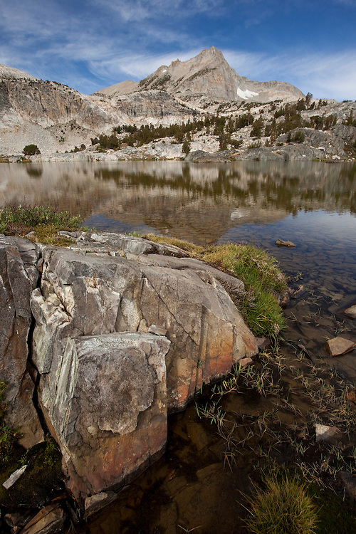 Greenstone Lake and North Peak are located in the Hoover Wilderness in the 20 Lakes Basin