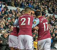 30th October 2019; Villa Park, Birmingham, Midlands, England; English Football League Cup, Carabao Cup, Aston Villa versus Wolverhampton Wanderers; Ahmed El Monhamady of Aston Villa celebrates with his team after scoring to take the lead 2-1 in the 57th minute - Strictly Editorial Use Only. No use with unauthorized audio, video, data, fixture lists, club/league logos or 'live' services. Online in-match use limited to 120 images, no video emulation. No use in betting, games or single club/league/player publications