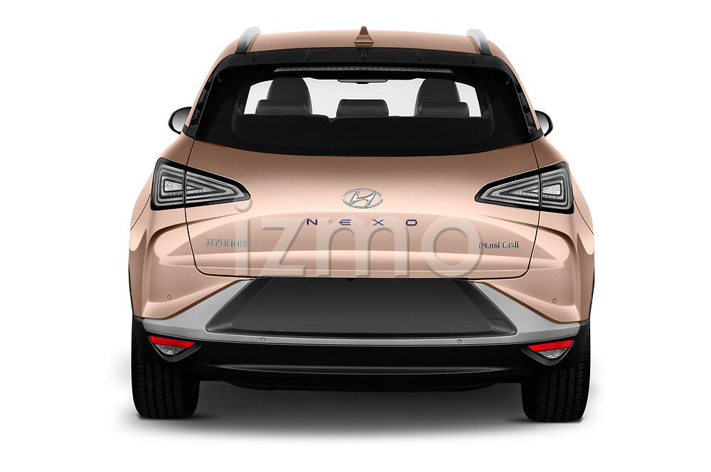 Straight rear view of 2019 Hyundai Nexo - 5 Door SUV Rear View  stock images