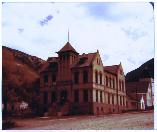 Front view of the San Miguel County Courthouse as seen from Mantz Ave. in Rico.<br /> Rico, CO
