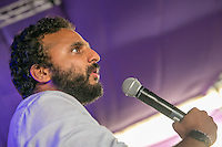 20th July 2014: English comedian Nish Kumar comperes the Comedy Arena on the fourth day of the 9th edition of the Latitude Festival, Henham Park, Suffolk.<br /> Picture by Stuart Hogben