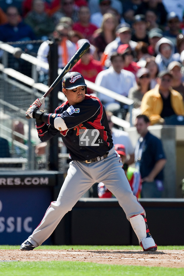 15 March 2009: #25 Shuichi Murata of Japan is seen at bat during the 2009 World Baseball Classic Pool 1 game 1 at Petco Park in San Diego, California, USA. Japan wins 6-0 over Cuba.