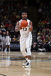 Darius Leonard (13) of the Wake Forest Demon Deacons passes the ball during first half action against the Louisville Cardinals at the LJVM Coliseum on January 4, 2015 in Winston-Salem, North Carolina.  The Cardinals defeated the Demon Deacons 85-76.  (Brian Westerholt/Sports On Film)