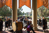 Incoming first years, faculty and members of the Occident College community get ready and then walk into Thorne Hall for Convocation, Aug. 26, 2015. The annual tradition starts the new school year and features taiko drummers that perform as students walk into Thorne.<br /> (Photo by Marc Campos, Occidental College Photographer)