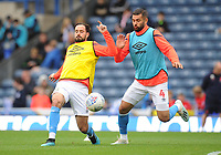 Blackburn Rovers' Greg Cunningham and Bradley Johnson during the pre-match warm-up <br /> <br /> Photographer Kevin Barnes/CameraSport<br /> <br /> The EFL Sky Bet Championship - Blackburn Rovers v Luton Town - Saturday 28th September 2019 - Ewood Park - Blackburn<br /> <br /> World Copyright © 2019 CameraSport. All rights reserved. 43 Linden Ave. Countesthorpe. Leicester. England. LE8 5PG - Tel: +44 (0) 116 277 4147 - admin@camerasport.com - www.camerasport.com