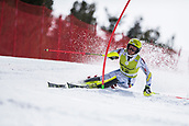 17th March 2018, Àvet Slope, Soldeu, Andorra; FIS Alpine Ski European Cup, Slalom Ladies Finals; #12 GUTIERREZ Mireia from AND  during the Slalom Final