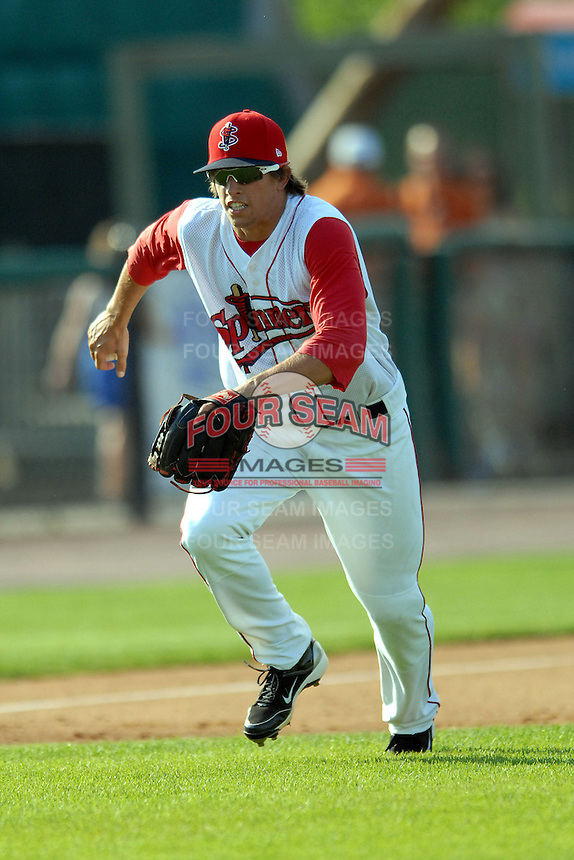 Infielder Garin Cecchini #17 of the Lowell Spinners during a game versus the Connecticut Tigers at LeLacheur Park in Lowell, Massachusetts on June 18, 2011. (Ken Babbitt/Four Seam Images)