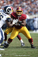 Washington Redskins defensive end Jonathan Allen #95 during an NFL football game between the Washington Redskins and the Los Angeles Rams, Sunday, Sept. 17, 2017 in Los Angeles (Photo by Michael Zito/Panini)