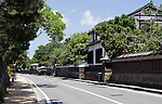 Photo shows the row of what in Edo period times were samurai residences in Shiomi Nawate district near Matsue Castle in Matsue City, Shimane Prefecture, Japan on 26 June 2011.  Photographer: Robert Gilhooly.