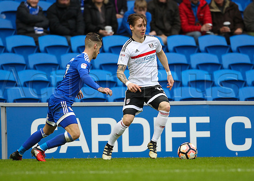 08.01.2017. Cardiff City Stadium, Cardiff, Wales. FA Cup third round football. Cardiff City versus Fulham. Fulham's Stefan Johansen takes on Cardiff City's Joe Bennett