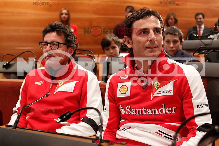 The test driver for Ferrari Pedro de la Rosa (r) and Luca Baldisserri director of the Ferrari Driver Academy during the gala Santander  Karting Champions 2012..(Alterphotos/Acero) NortePhoto