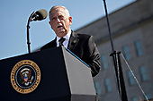 Jim Mattis, United States Secretary of Defense, speaks during a ceremony to commemorate the September 11, 2001 terrorist attacks with U.S. President Donald Trump, not pictured, at the Pentagon in Washington, D.C., U.S., on Monday, Sept. 11, 2017. Trump is presiding over his first 9/11 commemoration on the 16th anniversary of the terrorist attacks that killed nearly 3,000 people when hijackers flew commercial airplanes into New York's World Trade Center, the Pentagon and a field near Shanksville, Pennsylvania.<br /> Credit: Andrew Harrer / Pool via CNP