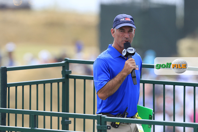 Corey Pavin reporting for Fox Sports during Thursday's Round 1 of the 2015 U.S. Open 115th National Championship held at Chambers Bay, Seattle, Washington, USA. 6/18/2015.<br /> Picture: Golffile | Eoin Clarke<br /> <br /> <br /> <br /> <br /> All photo usage must carry mandatory copyright credit (&copy; Golffile | Eoin Clarke)