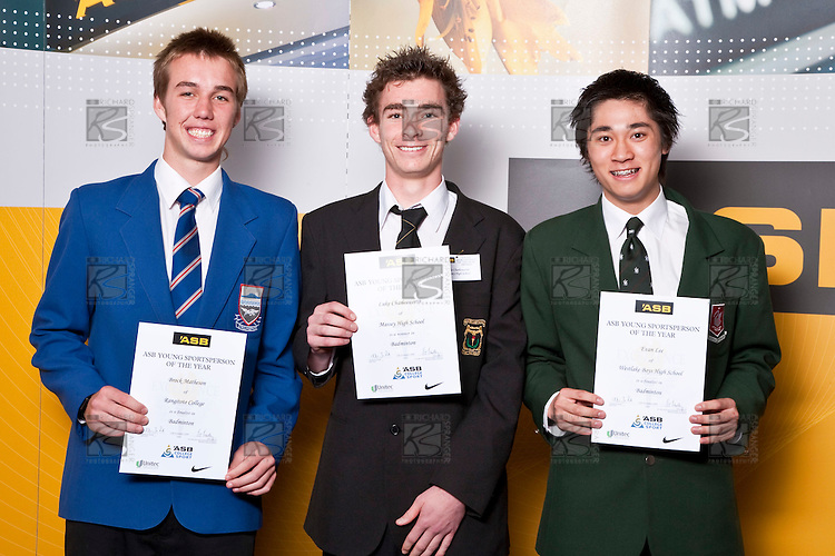 Boys Badminton finalists Brock Matheson, Luke Charlesworth & Evan Lee.  ASB College Sport Auckland Secondary School Young Sports Person of the Year Awards held at Eden Park on Thursday 12th of September 2009.