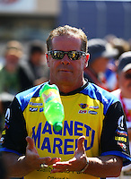 Jul. 27, 2014; Sonoma, CA, USA; NHRA pro stock driver Allen Johnson during the Sonoma Nationals at Sonoma Raceway. Mandatory Credit: Mark J. Rebilas-