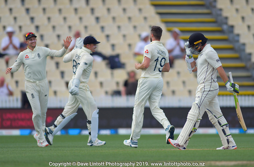 NZ's Tom Latham walks off after being dismissed by Chris Woakes during day four of the international cricket 2nd test match between NZ Black Caps and England at Seddon Park in Hamilton, New Zealand on Friday, 22 November 2019. Photo: Dave Lintott / lintottphoto.co.nz