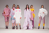 Collection by Alice Houghton from UCLAN, University of Central Lancashire. Graduate Fashion Week 2014, Runway Show at the Old Truman Brewery in London, United Kingdom. Photo credit: Bettina Strenske
