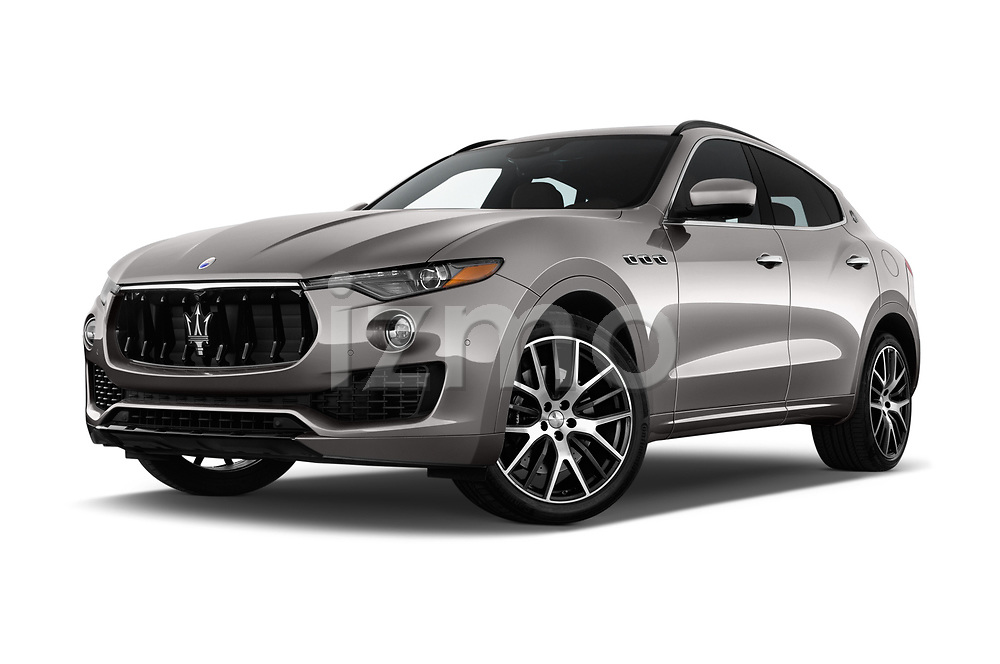 Stock pictures of low aggressive front three quarter view of a 2017 Maserati Levante Base 5 Door SUV