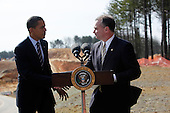 Springfield, VA - February 11, 2009 -- United States President Barack Obama shakes hands with Virginia Governor Tim Kaine, after making a speech on the  construction site,  Springfield , VA, Wednesday, February 11, 2009..Credit: Aude Guerrucci - Pool via CNP