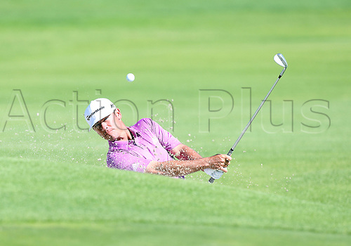 20.02.2016. Pacific Palisades, California, USA.  Chez Reavie hits a shot out of the bunker during the third round of the Northern Trust Open at Riviera Country Club in Pacific Palisades, CA.