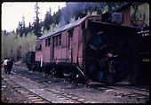RGS Rotary #2 at Vance Junction as seen while RMRRC excursion is coaling-up.  Coach #320 can be seen at right.<br /> RGS  Vance Junction, CO  Taken by Kindig, Richard H. - 5/30/1947