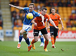St Johnstone v Dundee United...26.09.15  SPFL   McDiarmid Park, Perth<br /> Steven MacLean and Callum Morris<br /> Picture by Graeme Hart.<br /> Copyright Perthshire Picture Agency<br /> Tel: 01738 623350  Mobile: 07990 594431
